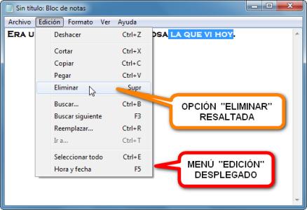 imagen bloc de notas windows edicion texto eliminar
