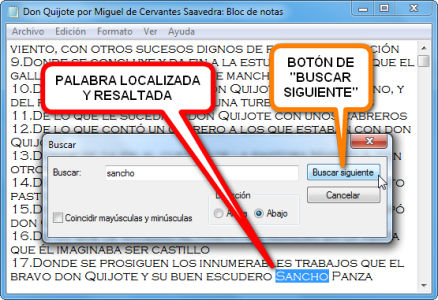 imagen bloc de notas windows edicion texto buscar