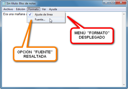 imagen bloc de notas windows edicion texto fuente